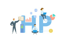 HP, Hire Purchase. Concept With Keyword, People And Icons. Flat Vector Illustration. Isolated On White.