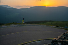 Sunrise Over The Famous National Road 67C In Romania Called Transalpina