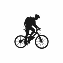 Silhouette Logo Of A Person Pedaling A Bicycle And Wearing A Backpack