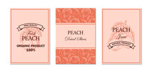 Set Of And Drawn Peach Designs. Vector Illustration In Sketch Style