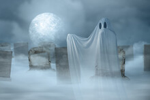 White Ghost Haunting On The Graveyard