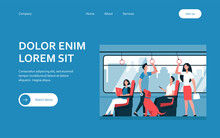 People Riding Subway Train. Commuters Sitting And Standing In Carriage. Vector Illustration For Metro Passengers, Commuting, Public Transport Concept