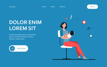New Mom Holding Baby In Arms. Mother And Little Kid Sitting On Chair Flat Vector Illustration. Motherhood, Maternity Leave Concept For Banner, Website Design Or Landing Web Page
