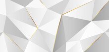 Modern Abstract Light Silver Polygonal Background Vector. Trendy Simple Triangles Geometric Shapes Design Elements With Golden Lines. Luxury And Elegant Style Texture Concept. Vector Illustration