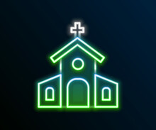 Glowing Neon Line Church Building Icon Isolated On Black Background. Christian Church. Religion Of Church. Colorful Outline Concept. Vector