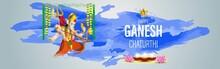 "VECTOR ILLUSTRATION FOR INDIAN LORD GANESHA FESTIVAL HAPPY GANESHA CHATURTHI MEANS ""HAPPY GANESH CHATURTHI""."