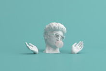 Minimal Scene Of Sunglasses On Human Head Sculpture With Pink Bubble Gum On Green Background, 3d Rendering.