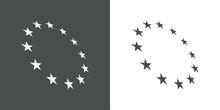 Logotipo Abstracto Con Estrellas En Circulo Con Perspectiva En Fondo Gris Y Fondo Blanco