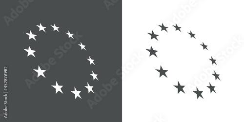 Fotografie, Obraz Logotipo abstracto con estrellas en circulo con perspectiva en fondo gris y fond