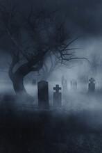 Fog In Dark Graveyard, Scary Halloween Night