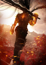A Warrior With Fiery Hands And A Huge Two-handed Sword Stands Gracefully On The Top Of A Japanese Temple, In Front Of Him Is A Beautiful Landscape Of Autumn Mountains And A Sunset With Falling Leaves.