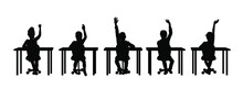 Children Raising Hands In Classroom Silhouette