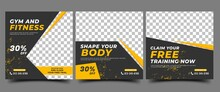 Gym, Fitness, And Sports Social Media Post Template Design. Set Of Modern Square Banner Design With Abstract Yellow Shape. Usable For Social Media, Banner, And Website.