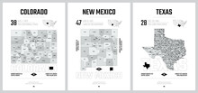 Highly Detailed Vector Silhouettes Of US State Maps, Division United States Into Counties, Political And Geographic Subdivisions Of A States - Colorado, New Mexico, Texas - Set 13 Of 17
