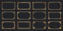 Golden Ard Deco Frames. Vintage Decorative Frame, Gold Ornaments Borders And Geometric Lines Ornament Vector Set. Elegant Decorations With Copyspace. Classic Decorative Design Elements