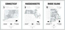 Highly Detailed Vector Silhouettes Of US State Maps, Division United States Into Counties, Political And Geographic Subdivisions, New England - Connecticut, Massachusetts, Rhode Island - Set 2 Of 17