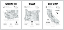 Highly Detailed Vector Silhouettes Of US State Maps, Division United States Into Counties, Political And Geographic Subdivisions Of A States, Pacific - Washington, Oregon, California - Set 16 Of 17