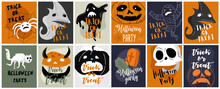 Vector Icon And Element Collection For Helloween Greeting Card And Poster, Party Sign. Concept Illustration With Sign And Symbol. Flat Design Cartoon
