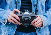 Crop Woman With Retro Photo Camera