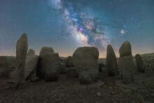 Megalithic Monuments Under Starry Sky With Milky Way