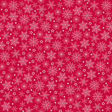 Seamless Pattern. White Snowflakes On Red Background. New Year.