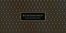 Black And Gold Background. Abstract Luxury Background With Gold Floral Pattern On A Black Background For Your Design. Modern Design Of Sites, Posters, Banners, Postcards, Printing, EPS10 Vector