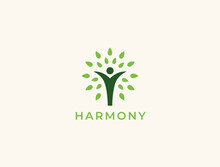 People Tree Logo With Green Leaves. Vector Icon Concept.