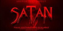 Satan Horror Text Effect, Editable Scary And Red Text Style
