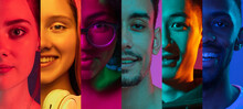 Cropped Portraits Of Group Of People On Multicolored Background In Neon Light. Collage Made Of 7 Models
