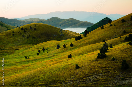 Obraz na plátně Summer sunrise with fog in Campo Imperatore, Abruzzo, Gran Sasso National Park,