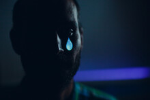 Crying Sad Man Portrait With Tears In Eye