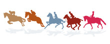 Eine Gruppe Von Reiter, Isoliert Auf Weiß Illustration