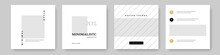 Minimalist Business Social Media, Clean And Editable Layouts For Instagram And Facebook, Square Templates For Company, Corporate Graphic With Place For Photos