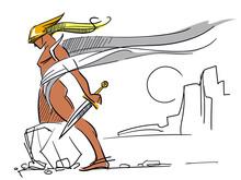 Argonaut. Mythology Greek. Hercules. Warrior In A Helmet With A Sword