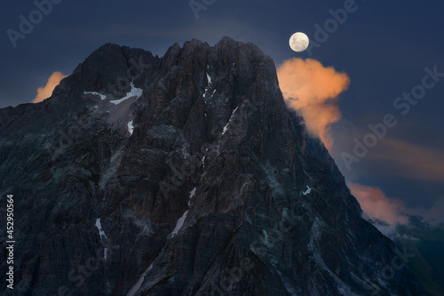Fotografie, Obraz aerial view with moon of the great horn of the mountain complex of the gran sass