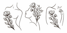 Woman With Flowers Clipart. Floral Woman. Female Body Line Art. Black And White Illustration.