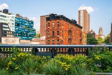 Scene From High Line Park In New York City Manhattan