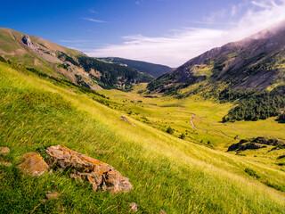 Valle tapizado de pastos alpinos con una roca en primer plano y el cielo azul con nubles dispersas