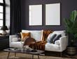 Leinwandbild Motiv Frame mockup in home interior background, 3d render