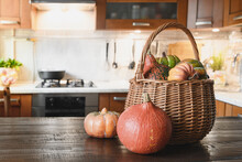 Kitchen Table Top With Pumpkins For Cooking On Thanksgiving Day Or Halloween Party Seasonal Autumn Treats.