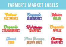 Fruit Text, Fruit Label, Farmer's Market Label, Organic Blueberries, Heirloom Tomatoes, Free Range Brown Eggs, Watermelon Text, Vector Illustration