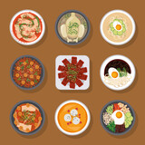 Fototapeta Natura - nine korean food icons