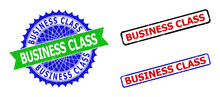 Bicolor BUSINESS CLASS Stamps. Green And Blue BUSINESS CLASS Seal Stamp With Sharp Rosette And Ribbon Elements. Rounded Rough Rectangular Framed BUSINESS CLASS Seal Stamps In Red, Blue, Black Colors,