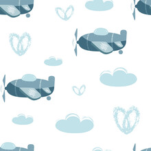 Seamless Vector Pattern With Planes Isolated On A White Background. Children Illustration. Vector Hand Drawn Illustration.
