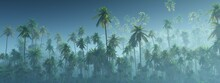 Jungle, Rainforest During The Plank, Palm Trees In The Morning In The Fog, Jungle In The Haze, 3D Rendering