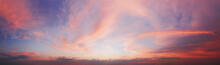 Dramatic Sunset Sky Panorama With Purple Clouds. Natural Sky Background.