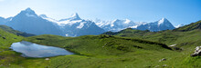 Panorama Alpestre Avec Montagne , Lac Et Prairie