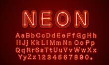 Neon City Color Red Font. English Alphabet And Numbers Sign.