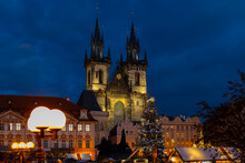 Old Town Square In Prague At Christmass Time, Czech Republic