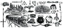 School Of Magic Vector Sketch Set. Ancient Castle, Flying Car, Locomotive, Magic Wands, Chocolate Toad, Gifts, Death, Magic, Cauldron, Potion, Love Drink, Poison, Letter, Owl, Rattling Willow.